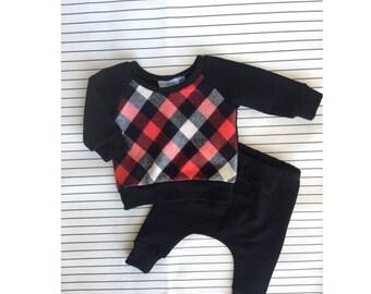 Black & Red Plaid Baby Harem Set