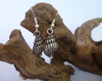 Pretty Silver Shell drop earrings, Silver earrings