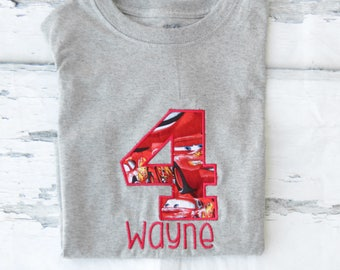 Boy fourth birthday Cars Lightning McQueen themed 4th birthday Cars shirt Toddler boy fourth birthday Shirt Boy number 4 Lightening McQueen
