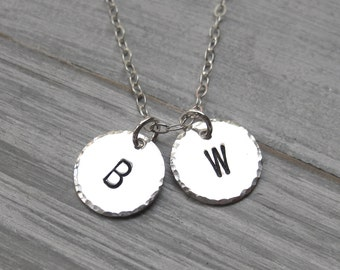 Sterling Silver Mothers Necklace Personalized Jewelry Hand Stamped Kids Initials Children's Initial Necklace Letter Necklace Mothers Day