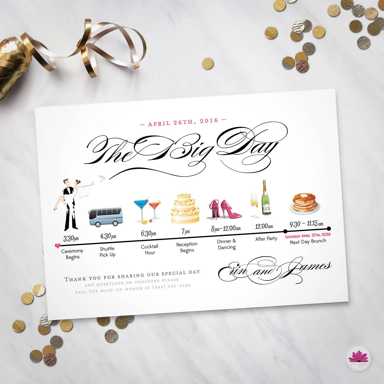 The Big Day Wedding Day Time Line Digital File