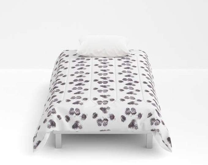 Comforter - Puppy Paw Prints - Bed Cover - Bedding - King - Queen - Full - Twin - Made to Order
