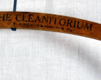 ANTIQUE Wood Advertising HANGER, The Cleanitorium , Southern CALIFORNIA / 1920s Vintage Old Wooden Hanger Santa Ana and Orange California
