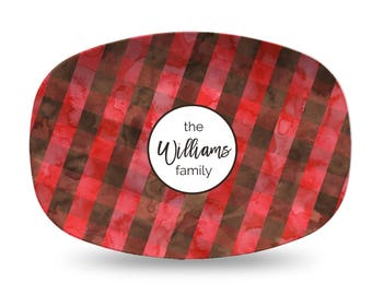 Red and Black Buffalo Plaid Personalized Platter gift for hostess gift for family platter holiday christmas gift for holidays personalized