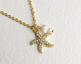 Starfish Necklace,GOLD, pearl, Beach Wedding necklace, beach wedding jewelry, bridesmaid gift Bridal necklace rhinestone jewelry GOLD PEARL