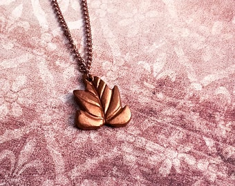Copper Maple Leaf Necklace, Handmade Charm Necklace