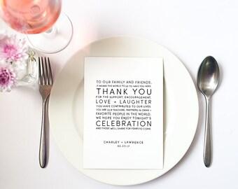 Wedding Reception Thank You Card (Charley) - Reception Decor, Sign, Typography, Black and White, Modern, Classic, Monogram, Printable, pdf