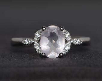 wedding ring natural pink quartz ring sterling silver ring oval cut gems pink gemstone