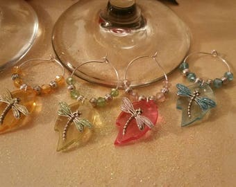 Unique glittered dragonfly wineglass charms, acrylic leaf wine glass charms, kitchen accessories,  housewarming gifts, glass markers