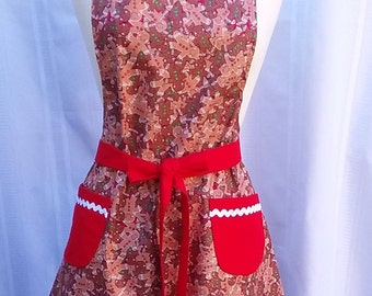 Holiday Apron with Sparkley Gingerbread Men Fit most Size