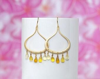 Gold chandelier earrings, yellow chalcedony earrings, natural gemstone earrings, yellow gold, autumn dangle earrings, drop crystal earrings