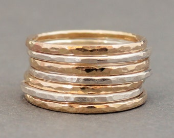 Stacking Ring Set Sterling Silver and Gold Filled Rings mixed metal stacking rings hammered stackable rings