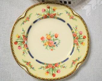 Vintage Johnson Brothers The Claridge Bread Plate Set of 8 Pareek Tulip Floral Cream White Gold Trim England PanchosPorch