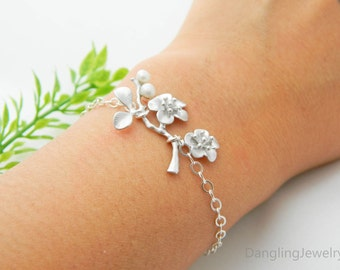 Bridesmaid Jewelry, Cherry Blossom Bracelet, Bridesmaid Gift, Sterling Silver ADJUSTABLE, Mothers Jewelry, Plum Blossom Jewelry