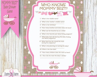Who Knows Mommy Best Printable Baby Shower Game, Baby Buggy Shower, Pink  Polka Dots With Burlap, INSTANT DOWNLOAD   004 001
