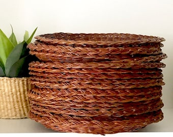 Wicker Plate Chargers | Summer Picnic Paper Plate Holders | Wicker Paper Plate Holders | set of 17