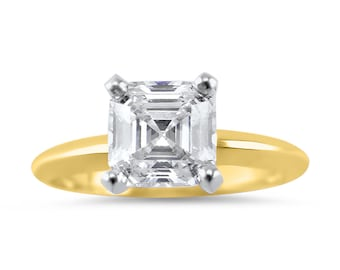 3 Carat Asscher Forever ONE Solitaire Engagement Ring, 14K Yellow Gold Moissanite engagement ring, Asscher engagement ring, Bridal,solitaire