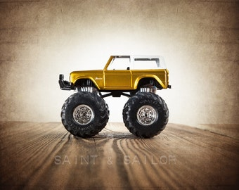 Vintage Monster Truck Grey Yellow and White Bronco, Photo Print,  Wall Decor, Playroom decor,  Kids Room, Nursery Ideas, Gift Ideas,