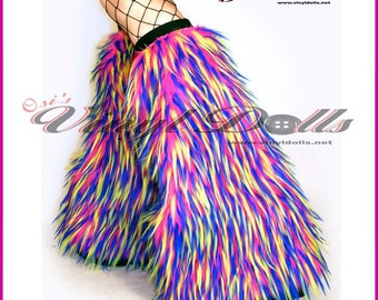 Furry Leg Warmers Monster Fluffies Hot Pink, Neon Yellow, Blue, Fuzzy Boot Covers