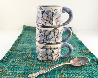 Pottery Forget-me-nots - Demittasse - hand made espresso cup - earthen ware -petite cup - flower collectors