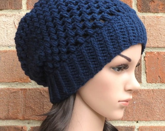 Navy Blue Slouchy Hat - Womens Slouchy Crochet Hat - Slouchy Beanie Hat  // THE JUNO //