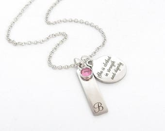 Personalized Scripture BAR NECKLACE- Bible Verse Jewelry-Proverbs 31:25-She is clothed with strength and dignity-baptism-Communion Jewelry