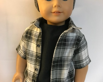 Black and gray plaid button down shirt 18 inch boy doll clothes