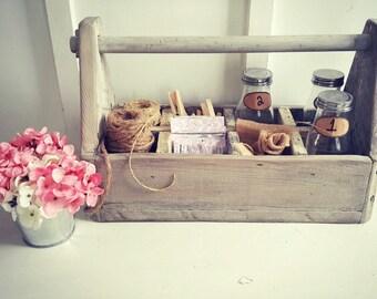 Rustic Wood Tool Box, Wedding Tool Box,Garden Tool Box, Farmhouse Decor, Rustic Cottage Decor, Primitive Tool Box, Fixer Upper Decor
