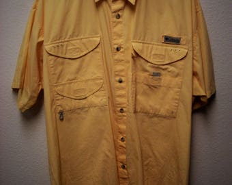COLUMBIA PFG (Professional Fishing Gear) Men's Yellow Short Sleeve Button Down Pocketed Fishing,Hunting,Camping Outdoors Shirt Size Large