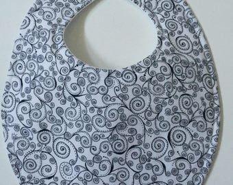 Black & White Scroll Bib Baby Bib with Embroidery