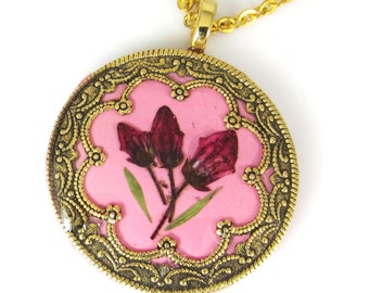 Red Buds on Pink , Pressed Flower Pendant, Real Flowers, Silver Plated Brass, Resin, Polymer Clay (1427)