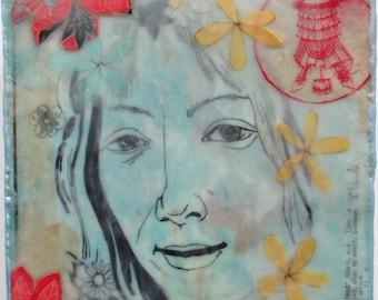 Uma Thurman painting, uma thurman portrait, illustration, mixed media encaustic