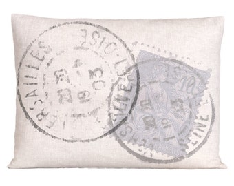 Natural Linen Vintage Style Postage Stamp Pillow Cover
