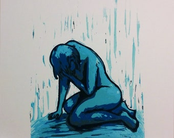 Nude Woman, Despair hand-carved, printed reduction linocut, sadness