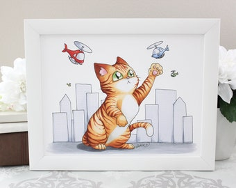Catzilla -  Print 8.5x11 or 4x6 inches - Cute Giant Orange Tabby Cat fighting Planes in a Cityscape Art