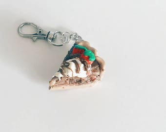 Slice of Cake Keychain / Polymer Clay Cake Keychain /Kawaii Mini Food Keychain