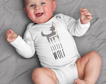 Wolf baby clothes, baby bodysuit for baby boy or baby girl, baby shower gift