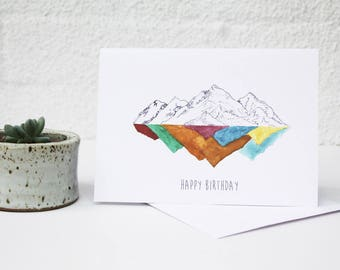 Mountain Reflection Print, Mountain Drawings, Landscape Card, Mountain Illustration, Colourful Mountains, Mountain Drawing