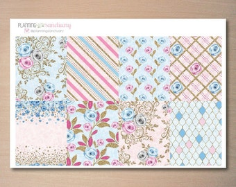 Blue Rose Decorative Full Boxes Planner Stickers for Erin Condren Vertical, Mambi, The Happy Planner