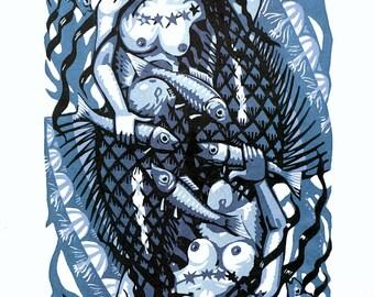 Mermaid lino print 15/15 (blue)