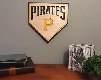 Pittsburgh Pirates-Baseball Sign-Engraved-Sports Sign-Pittsburgh-Pirates Baseball Sign-Homeplate