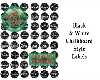 48 Chalkboard Labels Digital Printable ~ Jars, Canisters ~ 4 JPG Sheets Small Mouth Lid Baking Dry Goods Tags ~ Flour, Sugar, Coffee, Pasta