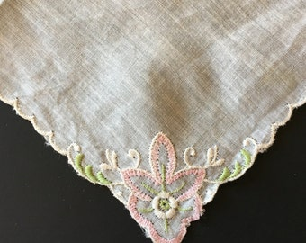 Vintage Hankie - Ladies Handkerchief - Floral Hand Embroidery - Mother of Bride - Bridesmaid Gift - Bridal - Wedding Accessories - Hanky