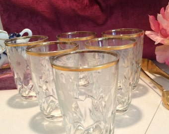 Set of 6 gold and etched French juice glasses