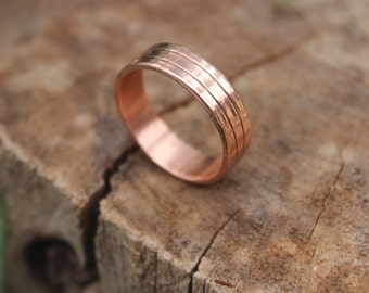 Copper Wedding Band With Lines, Wide Copper Band Ring, Men, Women, Eco Reclaimed Recycled Handmade Hand Forged Copper Ring, Minimalist