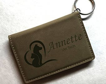 Animal Love Vet Tech / Veternarian Keychain ID Wallet