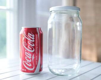 24 x 1000ml (1 litre) large round glass jars - White / black / gold / silver metal lids -