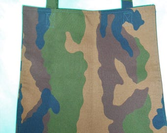 Shopping bag, large and deep with gussets, camouflage - new fabric, handmade