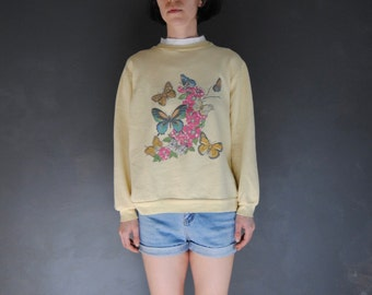 1980s pale yellow sweatshirt with butterfly graphic, vintage oversized sweatshirt -- faded, mock neck, butterflies, 1980s clothing, small