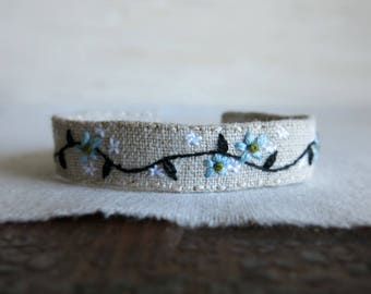 Embroidered Cuff Bracelet - Dainty Blue Flowers and a Black Vine on Natural Linen - Gift Under 50